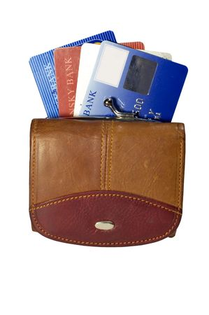 series: isolated on white: purse with plastic card Stock Photo