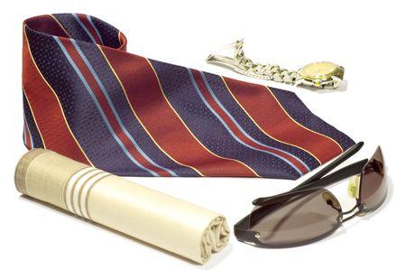 mans watch: serie objeto en negro: aislado-Mans accesorios - corbata, reloj, mant�n  Foto de archivo