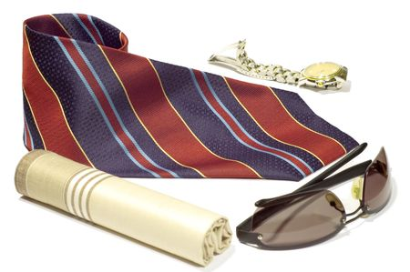 series object on black: isolated -MAns accessories - tie, watch,  shawl photo