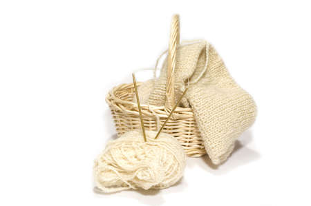 clew: series: object on white: clew, knitting needle, basket