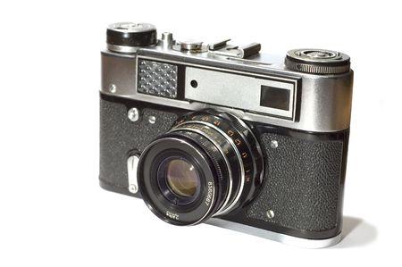reflex: serie oggetto su bianco: isolato - Centro fotocamera - fotocamera reflex Archivio Fotografico