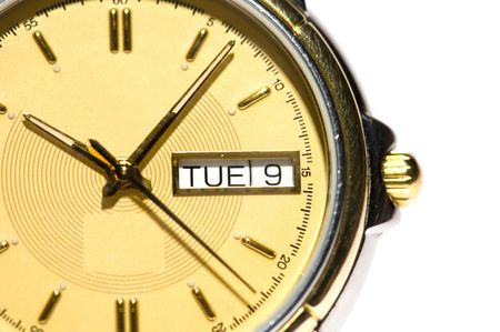 mans watch: series object on white - close up -Mans watch