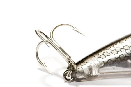 fish tail: series object on white: isolated - Hook and fish tail Stock Photo
