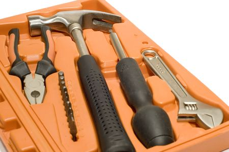 series object on white: isolated -tools - tool kit in box photo