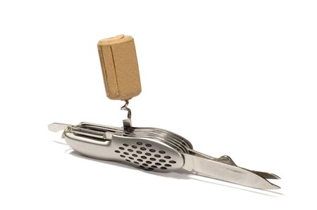 series object on white: isolated flic knife with corkscrew photo