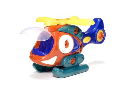on the skids: series object on white: Toy helicopter