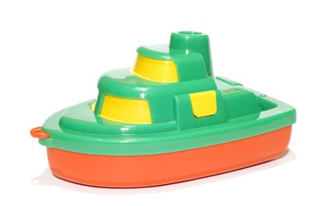 plastic toys: series object on white: Toy boat