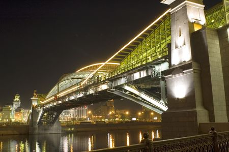 series object on white: night Moscow foot-bridge