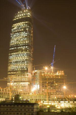 scraper: series object on white: night Moscow-sky scraper Stock Photo