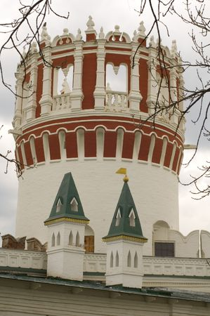 embrasure: Russia. Moscow monastery. white watchtower Stock Photo