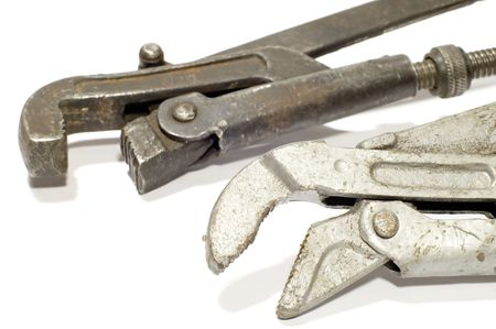 series object on white tool alligator wrench Stock Photo