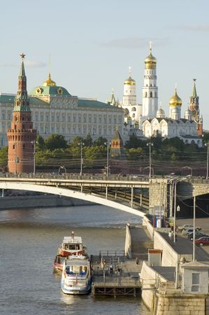 Russian Moscow Kremlin. bridge and Moscow river photo