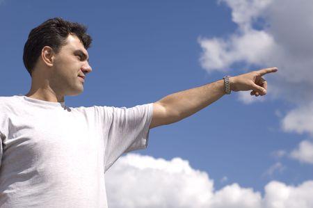 narrowly: man on blue sky show course