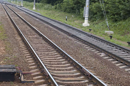 transposition: suburban railway, railroad in forest