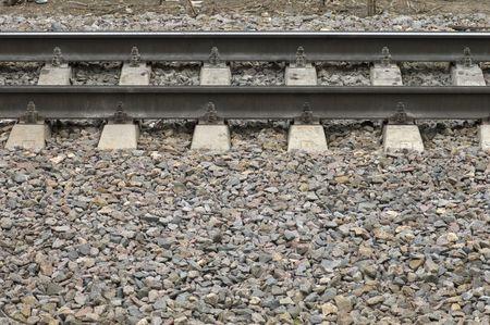 transposition: suburban railway, gravel and rails Stock Photo