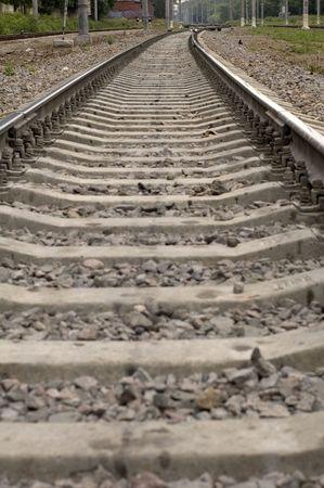 transpozycji: kolejowych w lesie Zdjęcie Seryjne