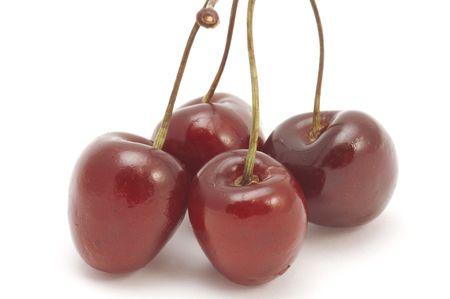series object on white  fruit  - cherries