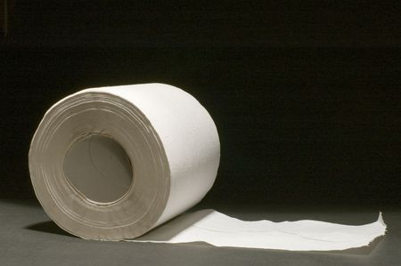 defecation: series object on black - toilet paper Stock Photo