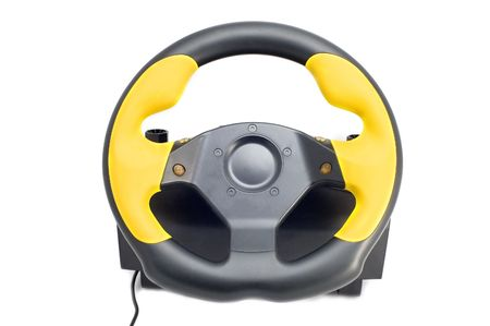 prefix: series object on white steering wheel Stock Photo