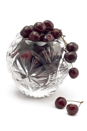 series object on white - food cherry photo