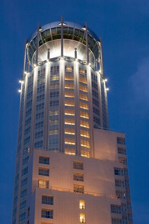 gibbet: Russia Moscow high-rise building with illuminated