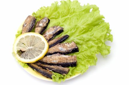 series object on white food - smoked fish photo