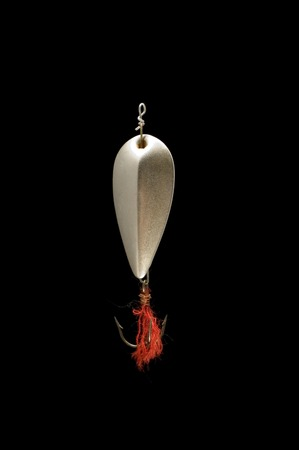 allurement: series object on black isolated - minnow with fish-hook