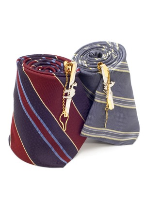 series object on white - fashion -cuff link on tie photo