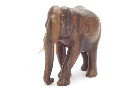 series object on white - wood elephant photo