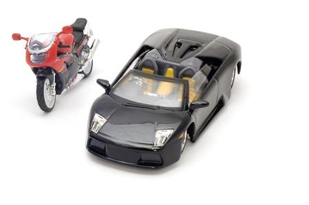 series object on white - model sport car and moto bike