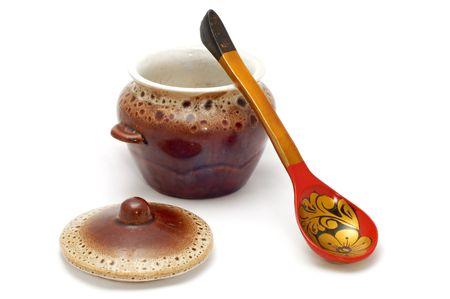 fireclay: series object on white kitchen utensil earthenware crockery Stock Photo