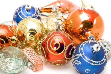 newyear: series object on white - New-Year tree decorations Stock Photo