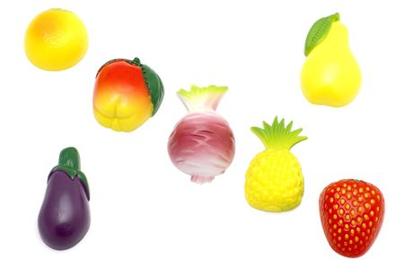 object on white - magnet- fruit and vegetables photo