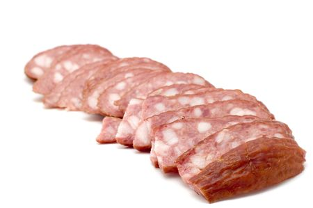 boiled sausage: object on white - food- boiled sausage Stock Photo