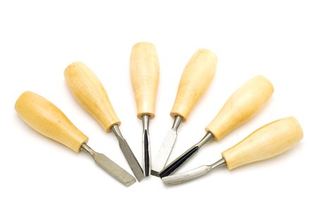 gouge: object on white - tool - tool for wood engraving