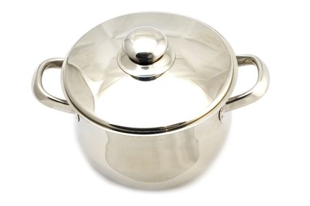 object on white - kitchen utensil - metal cooking pot