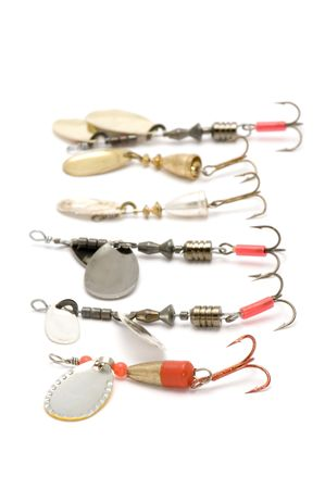 entrap: object on white - minnow with fish-hook