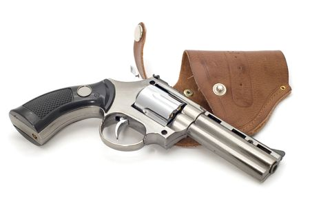 object on white lighter - revolver and holster Stock Photo - 2527285