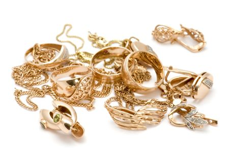object on white - Rings and ear-rings Stock Photo