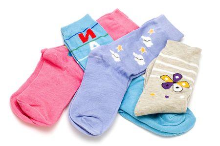object on white clothing - sock Stock Photo