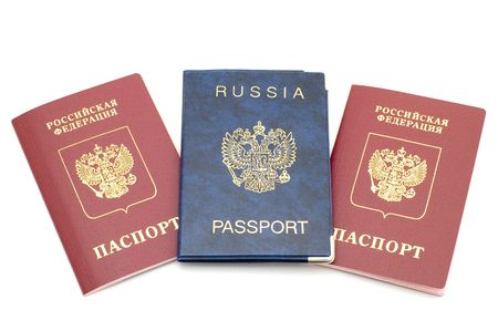 emigration and immigration: object on white - russian passport Stock Photo