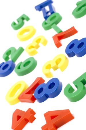 object on white - toy plastic number Stock Photo