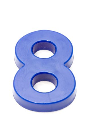 numeracy: object on white - toy plastic number Stock Photo