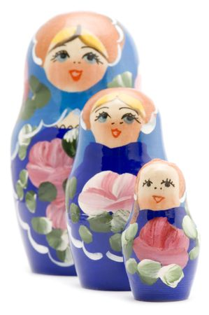 white  russian: object on white - Russian national souvenir wood doll