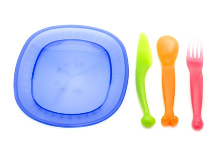 ware: object on white - kitchen utensil Set of plastic ware