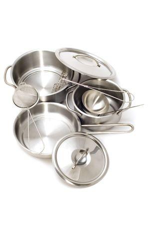 object on white - Metal kitchen utensil Stock Photo