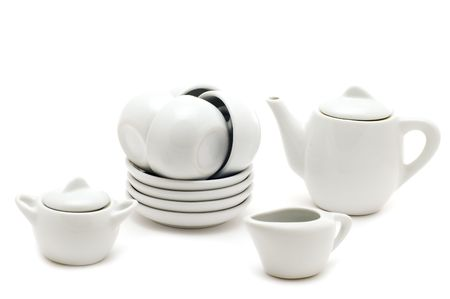 object on white - kitchen utensil White tea service Stock Photo