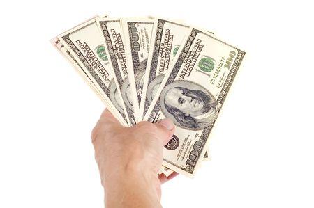 contribuire: oggetto su bianco - dollaro in mano