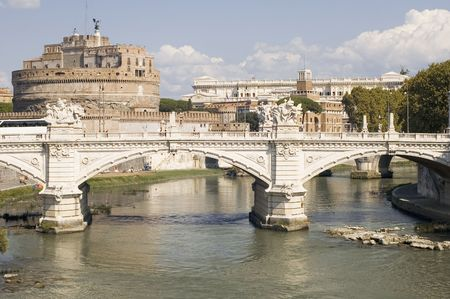 sant: Italy Older Bridge and Castle Sant Angelo in Rome Stock Photo