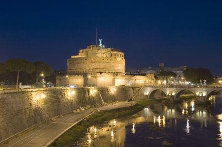 tevere: Italy Older Bridge and Castle Sant Angelo in Rome  Stock Photo